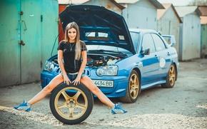 Picture auto, look, girl, smile, Girls, Subaru
