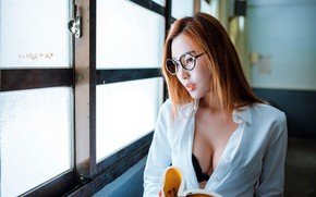 Picture girl, book, Asian