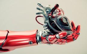 Picture heart, hand, robotics