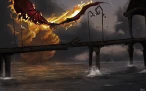 Picture bridge, river, fire, dragon, the situation, art, fantasy, Hellfire, manon bargier