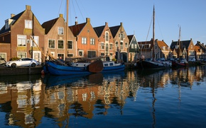 Picture the sky, the sun, river, dawn, home, yachts, Netherlands, cars, Monnickendam