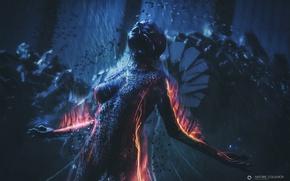 Wallpaper fire, robot, woman, audio android, Antoine Collignon, flame
