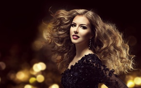 Picture look, girl, face, style, model, hair, makeup, hairstyle, curls, earrings