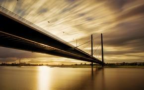 Picture Rhine, Düsseldorf, Golden Knee Bridge, Sunset, River