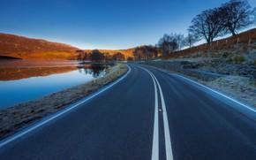 Picture road, mountains, lake, Scotland