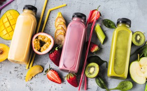 Picture berries, kiwi, strawberry, juice, bottle, drink, fruit