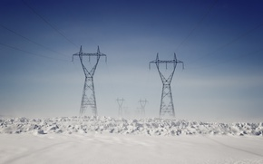 Picture winter, snow, power lines