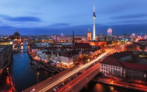 Picture the sky, the city, lights, the evening, morning, Germany, Berlin