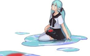 Picture water, fish, tears, white background, puddles, vocaloid, sitting, Hatsune Miku, long hair, Vocaloid, looking up, …