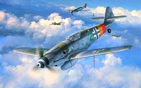 Picture aircraft, Messerschmitt, Germany, Air force, WW2, Painting, Fighter, Bf.109G-10