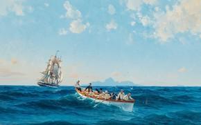 Picture artist, watercolor, painting, wave bursts, Herman Gustav Sillen., pencil, full course, Navy, battleship, the ocean, ...