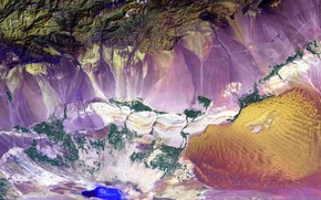 Wallpaper China, Turfan depression, photo NASA