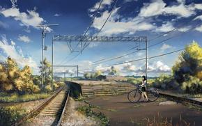 Picture the sky, asphalt, clouds, bike, posts, wire, rails, station, Japan, railroad, stage, schoolgirl, platform, the …