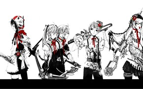 Picture wolf, gang, cyberpunk, hawk, chainsaw, sniper rifle, killer, bandages, Gemini, owl, five, red Camellia, super-weapons