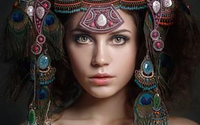 Picture look, decoration, face, style, portrait, feathers, Kseniya Kokoreva, Nastassja Parshina