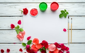 Picture paint, roses, petals, pink, flowers, roses, pink roses
