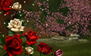 Wallpaper flowering, stones, roses, collage
