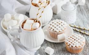Picture cream, dessert, cupcakes, cocoa, marshmallow