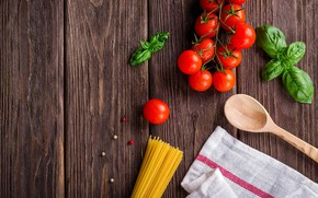 Picture background, Tomatoes, mint, spaghetti