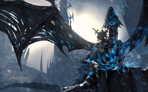 Wallpaper World of Warcraft, fantasy, Lich King, game, Warcraft, rain, armor, wings, dragon, weapons, digital art, ...