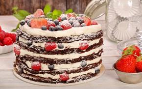 Wallpaper cake, powdered sugar, chocolate cakes, blueberries, berries, raspberry, cream, strawberry