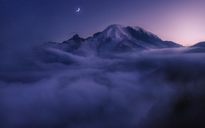 Wallpaper clouds, night, fog, the moon, top, USA
