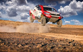 Picture The sky, Sand, Clouds, Auto, Sport, Machine, Speed, Race, Toyota, Hilux, Rally, SUV, Rally, Sport, ...