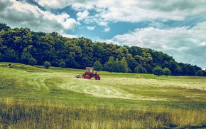 Picture field, forest, the sky, grass, tractor, agricultural machinery