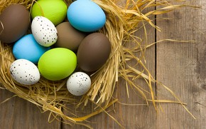Wallpaper spring, decoration, colorful, wood, Easter, Easter, the painted eggs, spring, Happy, eggs