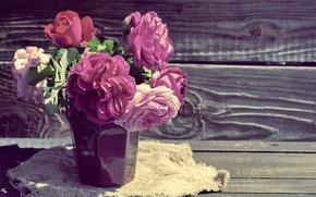 Wallpaper pink, flowers, wood, pink, beautiful, roses