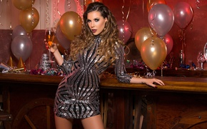 Wallpaper model, champagne, new year, dress, makeup, hairstyle, beauty, wine, balloons, brown hair, glass, figure, serpentine, ...