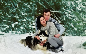 Picture winter, girl, snow, nature, pair, Guy