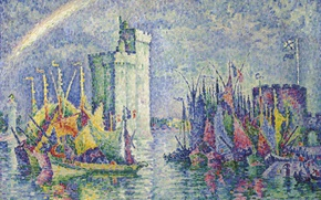 Picture landscape, ship, rainbow, picture, sail, Paul Signac, pointillism, La Rochelle. Port