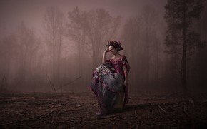 Picture forest, girl, dress, wreath, Buktan Hummen, A l o n e