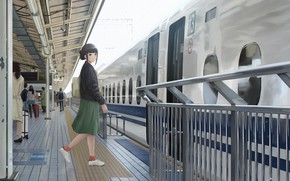 Picture train, station, girl