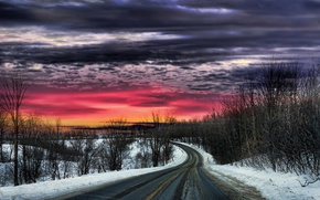 Picture road, the sky, sunset