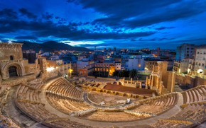 Picture clouds, night, lights, home, ruins, Spain, Cartagena, Roman theatre