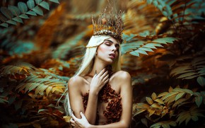 Picture leaves, branches, pose, crown, hands, Ronny Garcia, Autumn queen, Javiera Molina