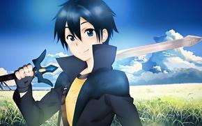Picture sword, anime, art, Sword art online, Sword Art Online, Kirito