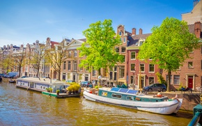 Wallpaper river, spring, boats, Amsterdam, Amsterdam, old, spring, buildings, Netherlands, boat, canal
