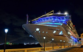 Picture night, ship, Marina, liner