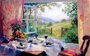 Picture field, summer, trees, flowers, table, glasses, window, fruit, curtains