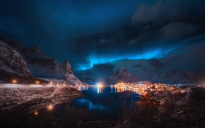 Picture winter, the sky, stars, clouds, light, lights, reflection, the village, the fjord, The Lofoten Islands