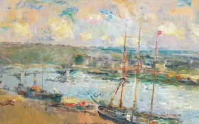 Picture landscape, ship, picture, port, Albert Charles Lebar, Albert Lebourg, Rouen and Saint-Sever