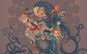 Picture flower, blue, red, weapons, grey, girls, black, hair, watch, mechanism, egg, anime, girls, anime, brokenTONE