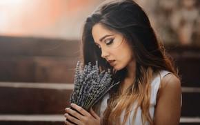 Picture girl, flowers, portrait, Laulight