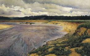 Picture landscape, river, oil, picture, canvas, Ilya Ostroukhov, Siverko