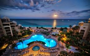 Wallpaper sunset, landscape, tropics, the sky, Caribbean, beach, pool, horizon, sea, Grand Cayman, the evening, yachts, ...