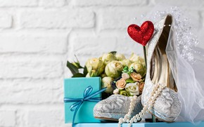 Picture gift, shoes, beads, veil, wedding, the bride's bouquet, Valeria Maksakova