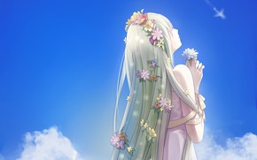 Picture the sky, girl, clouds, flowers, anime, art, ice, vocaloid, jinqinglin77, hatsune milki